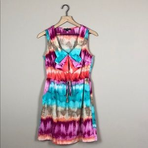 BeBop Tie Dye Ruffle Front Dress (Medium)